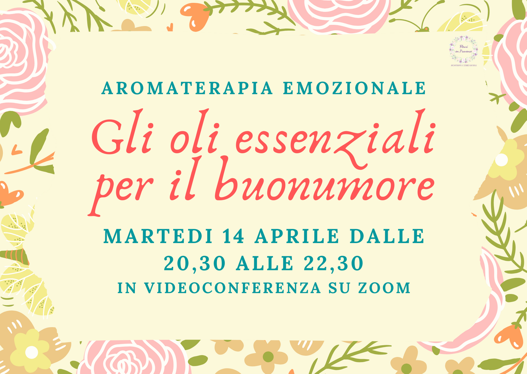 Corso di aromaterapia on line 14 aprile: oli essenziali per il buonumore
